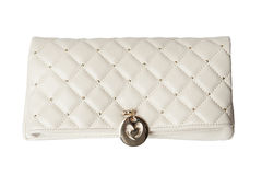 White  clutch bag with jewel Royalty Free Stock Images