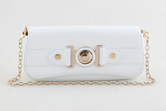 White  clutch bag with jewel Royalty Free Stock Photography