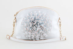 White  clutch bag with jewel Stock Photos