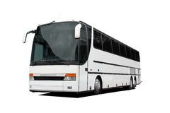 White Coach Bus Isolated over White Stock Photos