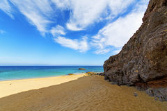 White coast lanzarote  in spain   beach  stone water  and Stock Photo