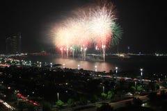 White coastal firework display Stock Photography
