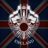 White Coat of Arms With Circle Frame and Vintage Weapons on Britain Flag Background Royalty Free Stock Image