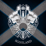 White Coat of Arms With Circle Frame and Vintage Weapons on Scotland Flag Background Stock Images