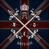 White Coat of Arms With Cross Arrows on Britain Flag Background Stock Photography