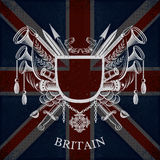 White Coat of Arms With Frame and Vintage Weapons on Britain Flag Background Stock Photos