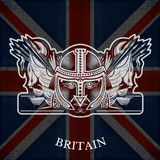 White Coat of Arms With Head of Worrior and Vintage Weapons on Britain Flag Background Stock Photo