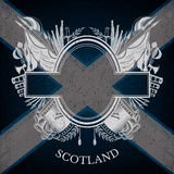 White Coat of Arms With Oval Frame and Vintage Weapons on Scotland Flag Background Stock Photos