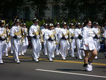 White Coated Marching Band. Photo of white coated marching band during the memorial day parade in washington dc on 5/30/11 Stock Photos