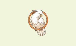 White cockatoo/parrot perched on a ring. Vector white cockatoo/parrot perched on a ring Stock Images
