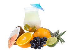 White cocktail with fruits Stock Photo