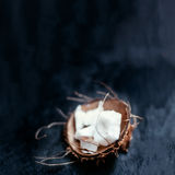 White Coconut pieces over black background close Royalty Free Stock Photos