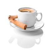 White Coffe Cup With Cinnamon Royalty Free Stock Photos