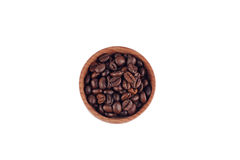 White coffee beans in a wooden bowl Stock Photo