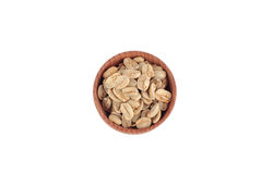 White coffee beans in the wooden bowl Stock Image