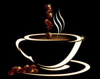 White coffee cup with beans Stock Images