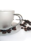 White coffee cup with beans Royalty Free Stock Photos
