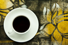 White coffee cup on beautiful texture table Stock Photos