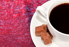 White coffee cup with brown chocolate Stock Image