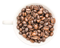 White Coffee Cup With Coffee Beans Stock Image