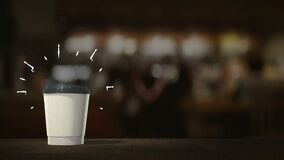 White coffee cup with coffee and cocktails appear in infinite loop, on bar counter table stand. With motion graphics