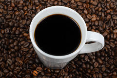 White coffee cup filled with black coffee Royalty Free Stock Photo