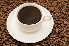 White coffee cup filled with coffee beans Stock Photography