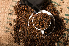 White coffee cup full of beans, surround by more coffee beans an. D a black bag Royalty Free Stock Photography
