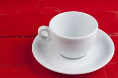 White coffee cup isolated on a red background. Cappuccino beverage aroma energy drink morning tasty breakfast hot latte espresso black cafe mug caffeine object stock images