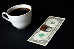 White coffee cup and money Royalty Free Stock Image