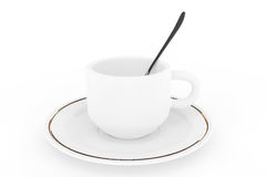 White coffee cup with plate and spoon Stock Photo