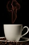 White coffee cup with red smoke Stock Photos