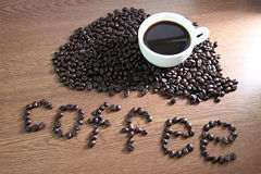 White coffee cup resting on coffee beans and text Coffee on wood Royalty Free Stock Images