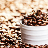 White Coffee Cup with roasted coffee beans on heap of coffee bea Royalty Free Stock Photos