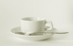 White coffee cup and saucer Stock Photo
