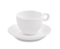 White coffee cup and saucer on white background Royalty Free Stock Photos