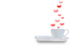 White coffee cup with smoke shaped heart Royalty Free Stock Image