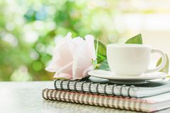 White coffee cup on spiral notebooks with sweet pink rose flower. Against blurred natural green background stock photo