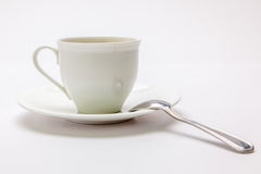 White coffee cup with spoon Royalty Free Stock Photography