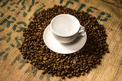 A white coffee cup surrounded by coffee beans. Placed on a coffee sack Stock Photography