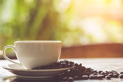 White coffee cup on the table at morning time Royalty Free Stock Photography