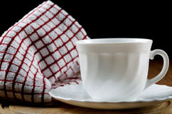 White coffee cup and towel Royalty Free Stock Photo