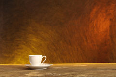 White coffee cup on wooden table Royalty Free Stock Image