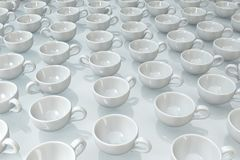 White Coffee Cups. Coffee cups empty white on surface, 3d illustration, horizontal Stock Photos
