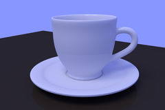 White coffee cups with saucer on a dark reflective surface. 3D rendering of a white coffee cup with saucer on a dark reflective surface Royalty Free Stock Image