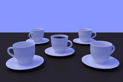 White coffee cups with saucer on a dark reflective surface. 3D rendering of a white coffee cup with saucer on a dark reflective surface Stock Photography
