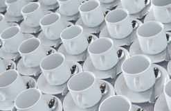 White coffee cups with teaspoon Stock Image