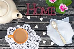 White coffee in the garden in the sunny day. White coffee with sugar in the garden in the sunny day Stock Photo