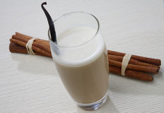 White coffee in glass. On table Royalty Free Stock Photo