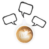 White coffee latte cup and chat icon Stock Photography